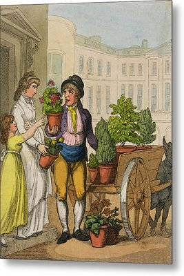 Cries Of London The Garden Pot Seller Metal Print by Thomas Rowlandson