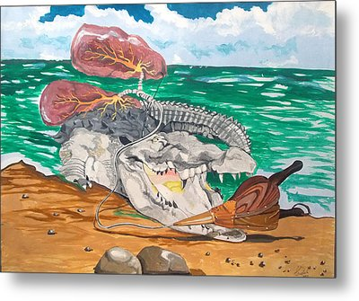 Metal Print featuring the painting Crocodile Emphysema by Lazaro Hurtado