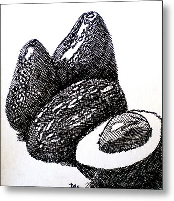 Crosshatched Avocados Metal Print by Debi Starr