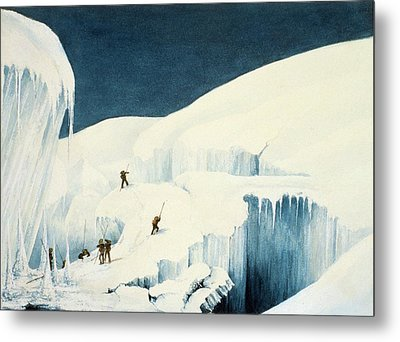 Crossing A Ravine, From A Narrative Metal Print by English School
