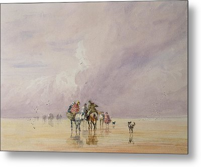 Crossing Lancaster Sands Metal Print by David Cox