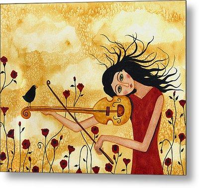 Crow Bird Blackbird Raven Music  Violin Floral Poppy  Whimsical Folk Debi Hubbs Children Art Metal Print