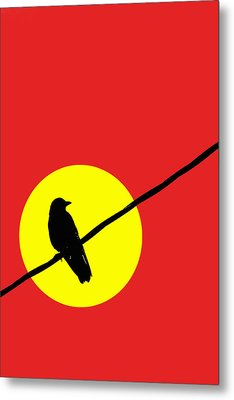 Crow On A Wire Metal Print by Carol Leigh