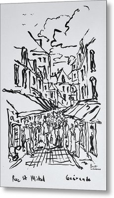 Crowded Pedestrian Streets, Guerande Metal Print