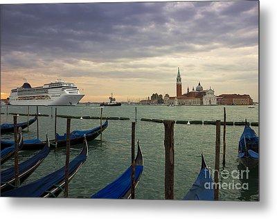 Cruise Ship Entering The Venice Lagoon At Dawn Metal Print by Kiril Stanchev