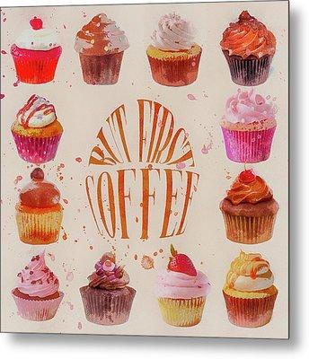 Cupcake Square Metal Print by Cora Niele