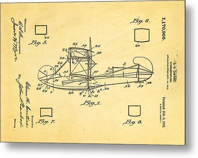 Curtiss Hydroplane Patent Art 1916 Metal Print by Ian Monk