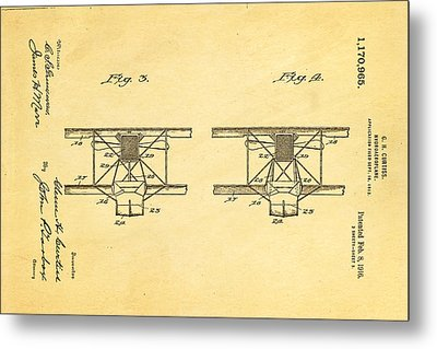 Curtiss Hydroplane Patent Art 3 1916 Metal Print by Ian Monk