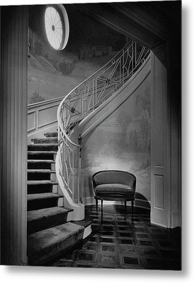 Curving Staircase In The Home Of  W. E. Sheppard Metal Print by Maynard Parker
