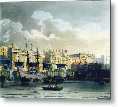 Custom House From The River Thames Metal Print by T. & Pugin, A.C. Rowlandson