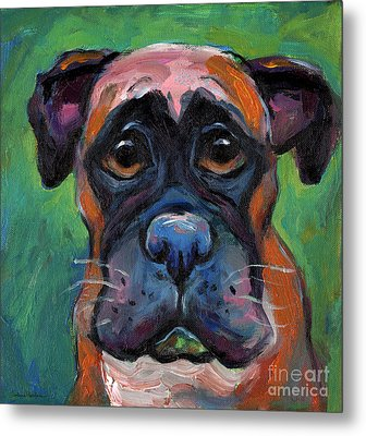 Cute Boxer Puppy Dog With Big Eyes Painting Metal Print