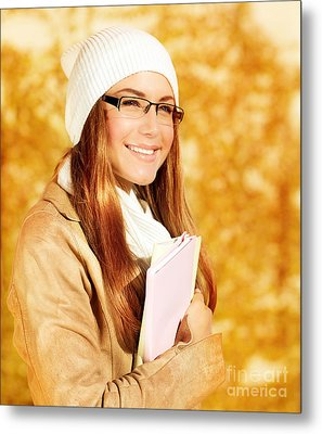 Cute Student Girl Metal Print by Anna Om