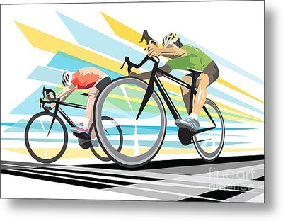 Cycling Sprint Poster Print Finish Line Metal Print by Sassan Filsoof