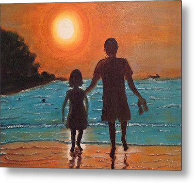 Dad And Daughter Metal Print by Brindha Naveen