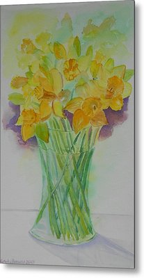 Daffodils In Glass Vase - Watercolor - Still Life Metal Print by Geeta Biswas