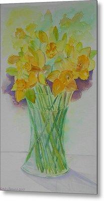 Daffodils In Glass Vase - Watercolor - Still Life Metal Print