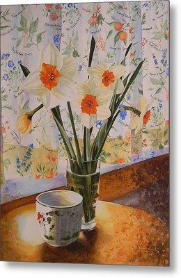 Daffodils With Red Ribbon Metal Print by Adel Nemeth
