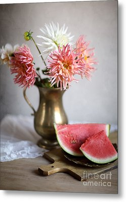 Dahlia And Melon Metal Print by Nailia Schwarz