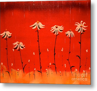 Metal Print featuring the painting Daisy Rain by Denise Tomasura