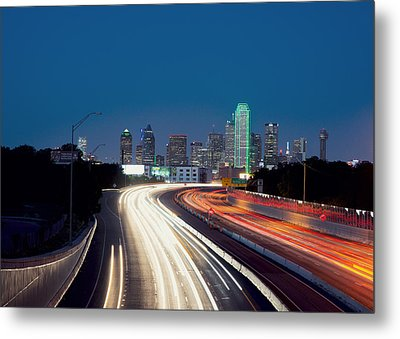 Dallas Night Skyline Light Trails Metal Print