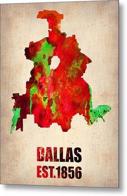 Dallas Watercolor Map Metal Print by Naxart Studio