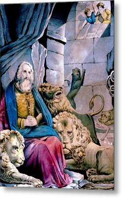 Daniel In The Lions Den Metal Print by Currier and Ives