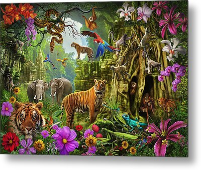 Metal Print featuring the drawing Dark Jungle Temple And Tigers by Ciro Marchetti
