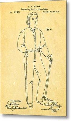 Davis Original Levi's Patent Art 1873 Metal Print by Ian Monk