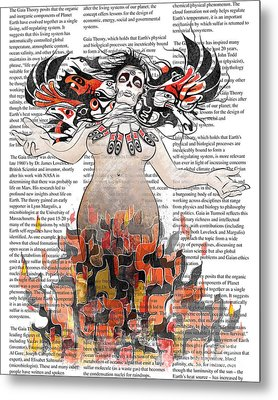 Day Of The Dead Gaia In Flames With Text Illustration Print Metal Print by Sassan Filsoof