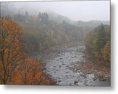 Deerfield River Mohawk Trail Autumn Fog Metal Print by John Burk