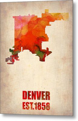 Denver Watercolor Map Metal Print by Naxart Studio