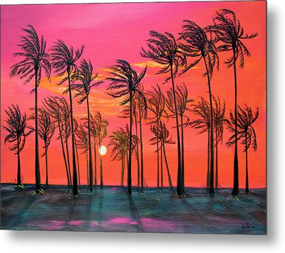 Desert Palm Trees At Sunset Metal Print by Asha Carolyn Young