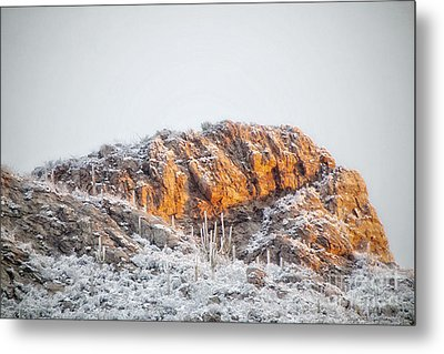 Desert Snow At Sunrise Metal Print