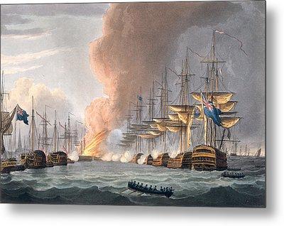 Destruction Of The Danish Fleet Metal Print by Thomas Whitcombe