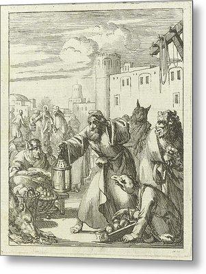 Diogenes Find Satan Disguised As Merchant Metal Print by Jan Luyken And Wed. Pieter Arentsz (ii)