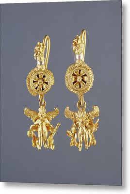 Disk Pendant Earrings With A Figure Of Eros Unknown Metal Print by Litz Collection