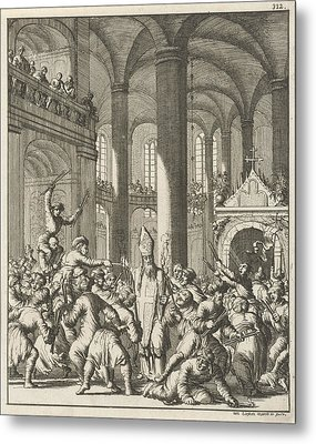 Distribution Of The Sacred Fire During Easter In The Holy Metal Print