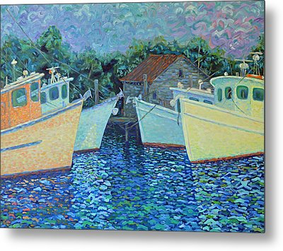 Divisionistic Shrimp Boats Metal Print by Dwain Ray