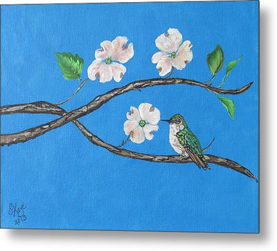 Metal Print featuring the painting Dogwood And Hummingbird by Ella Kaye Dickey