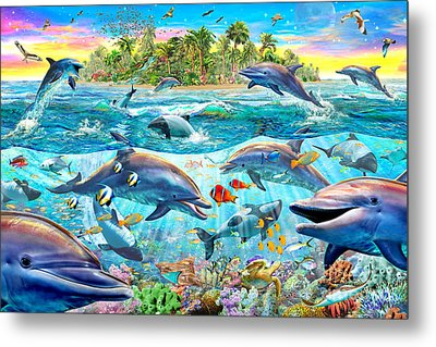Dolphin Reef Metal Print by Adrian Chesterman