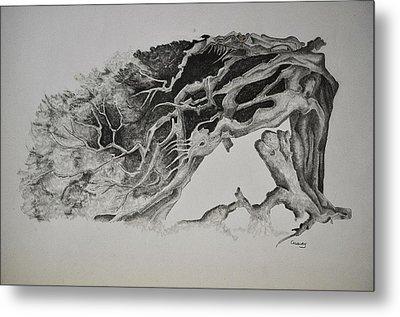 Dragon Tree With People Metal Print by Glenn Calloway