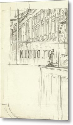 Drawing Of A Bar And Front Window Of Hotel Du Rhin Metal Print