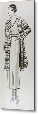 Drawing Of A Model Wearing Tennis Dress Metal Print