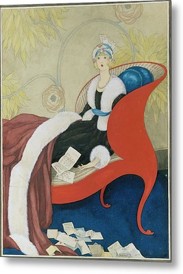 Drawing Of A Woman On A Chaise Surrounded Metal Print