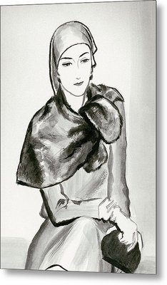Drawing Of A Woman Wearing A Lucien Lelong Metal Print by Rene Bouet-Willaumez