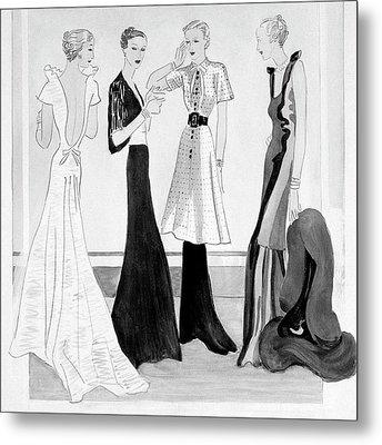 Drawing Of Four Well-dressed Women Metal Print by Eduardo Garcia Benito