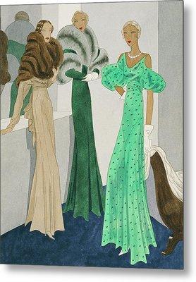 Drawing Of Models Wearing Wool Evening Dresses Metal Print