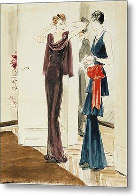 Drawing Of Two Women Wearing Mainbocher Dresses Metal Print by Rene Bouet-Willaumez