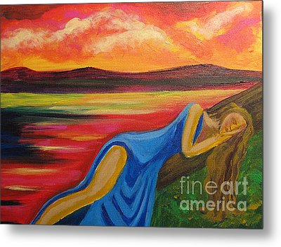 Metal Print featuring the painting Dreaming At Sunrise by Diana Riukas