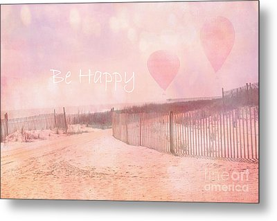Dreamy Cottage Chic Summer Beach Typography Metal Print by Kathy Fornal